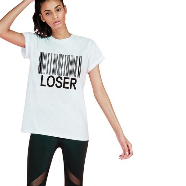 LOSER T-Shirt Funny Graphic tees Summer Style Sport Tops Women Fashion Clothing Casual White T Shirt