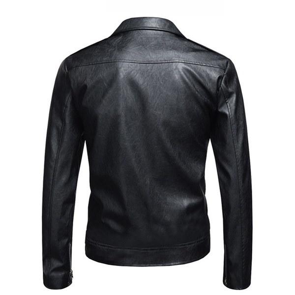 メンズファッションスリムフィットオートバイレザージャケットジッパーコート
