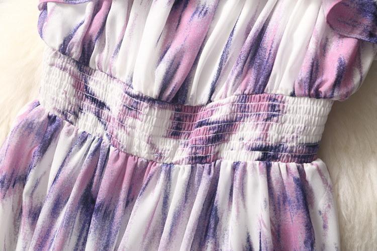 プリント ドレス サマードレス マキシ丈 マキシワンピ ロング スカート 紫 パープル ビーチ ボヘミアン キレイカラー ノースリーブ ポップ 韓流 ファッション シフォン スカート レディース 夏 スイート 韓国 フリル リボン 可愛い ワンピース ハイウエスト 脚長 (61-57) ※納期に10日から14日ほどかかります。