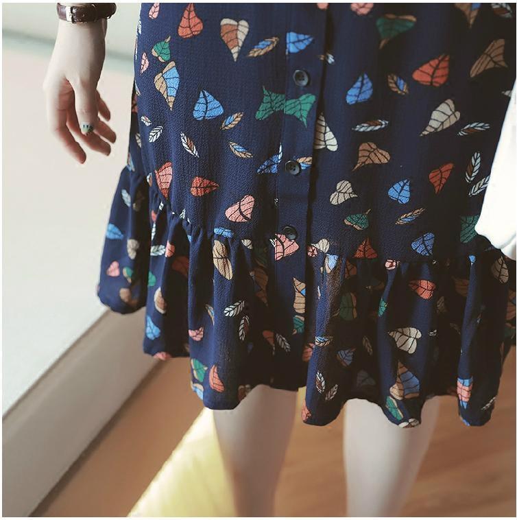 スリムなラインで着ていただけます♪ プリント シャツ ワンピース スタンドカラー 膝丈 リーフ柄