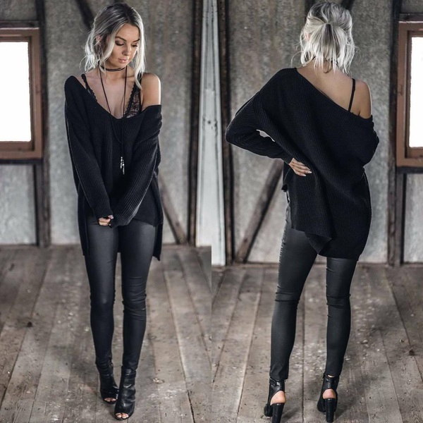 Autumn Winter Women s Fashion Casual Solid Color Plus Size Loose Oversized Baggy Irregular Jumpers F
