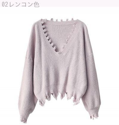 Rinaシリーズ/秋/新しいデザイン/女性服/韓国風/Vネック/不規則な/バリ/短いスタイル/ヘッジ/セーター/ニット