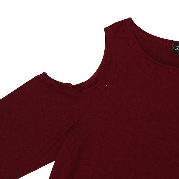 S-5XL Damen Baggy FreizeitロングトップコールドオフショルダーTシャツHemd Plus