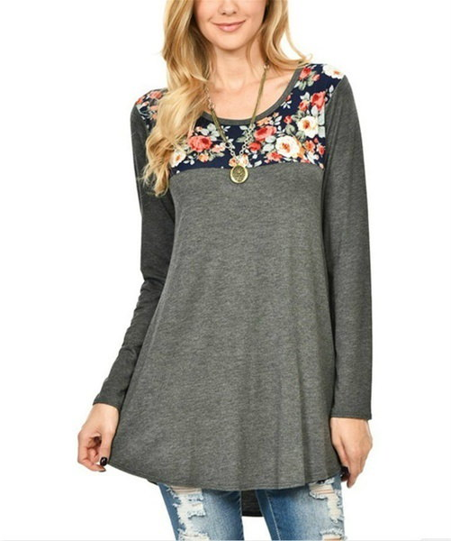 Women s Fashion Long Sleeves Floral Print T-Shirts Casual Blouse