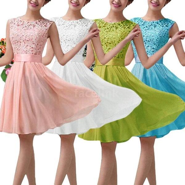 Fashion Women Dress Lace Chiffon Half Sleeve Slim Maxi Long Gown Elegant Princess Evening Party One-