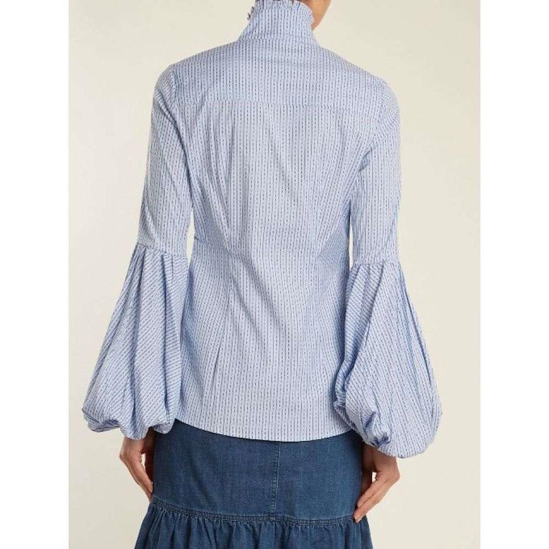 キャロライン コンスタス レディース トップス ブラウス・シャツ【Jaqueline striped cotton-blend shirt】Light-blue
