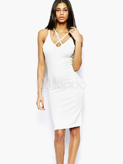 Solid Color Cross Front Sleeveless Bodycon Dress