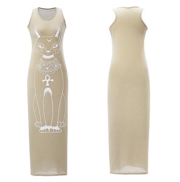 15色夏の女性のドレスマキシドレスタンクトップアンクルの長さの長いドレスカジュアルな包帯ドレスの猫