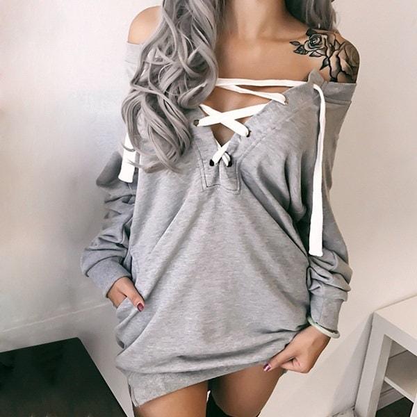 プラスサイズセクシーなスカートファッションバンデージミニドレスロングスリーブ女性カジュアルトッププルオーバールーズロング