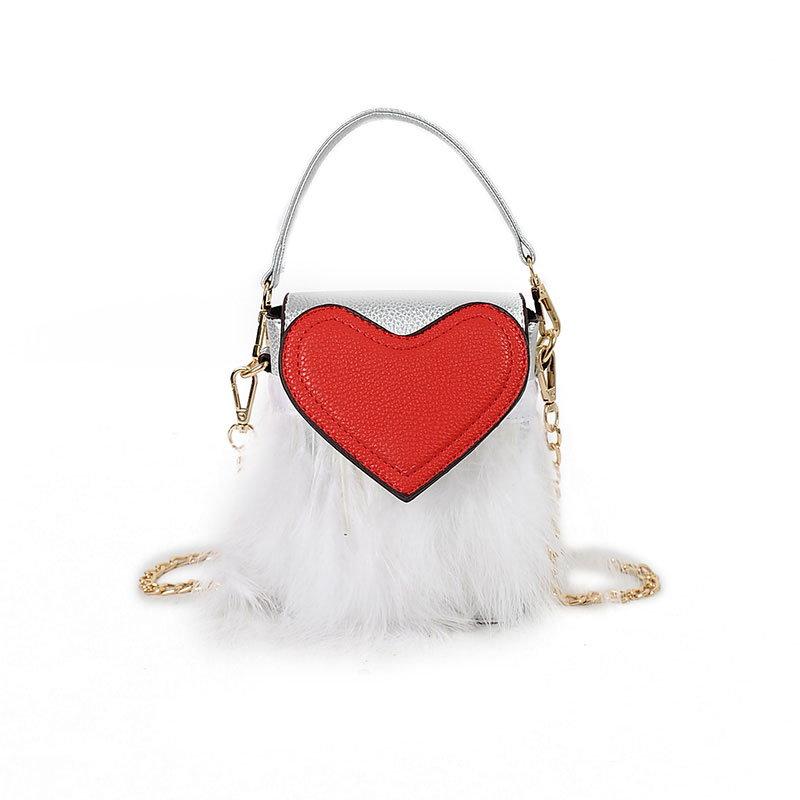【予約 / 送料無料】レディースファッションハートバッグ/フワフワ/小型で便利で可愛いバッグ/ショルダーバッグ/女子鞄-3 colors