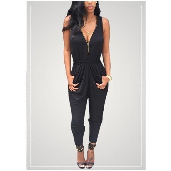 Women Fashion Black V-neck Jumpsuit Sexy Sleeveless Slim Long Pants Romper Trousers Bandage Loose Ev