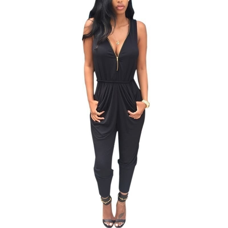 Women Fashion Black V-neck Jumpsuit Sexy Sleeveless Slim Long Pants Romper Trousers Bandage Loose Ev