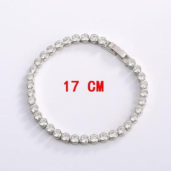 銀メッキキュービックジルコニアカップチェーンブレスレット(長さ:17/19 cm)
