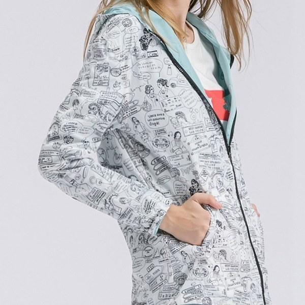 レディースファッション両面プリントウエアフード付ルーズポケットジャケットコートアウトレット(サイズ:XS・カラー:ピンク)