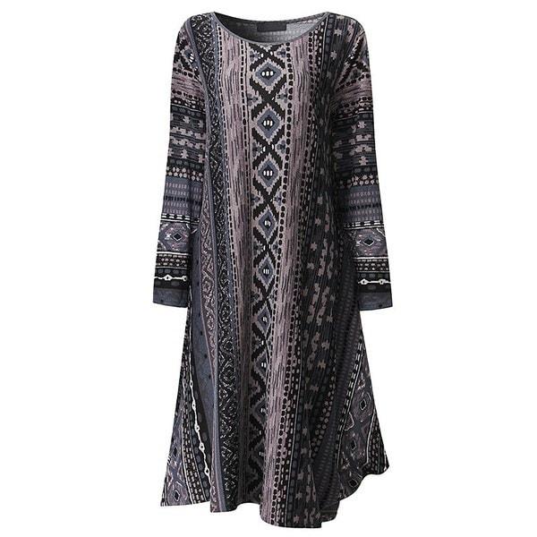 新しいシックなルースKleidローブヴィンテージ女性ラウンドネック不規則なレトロシャツドレスロングマキシドレス