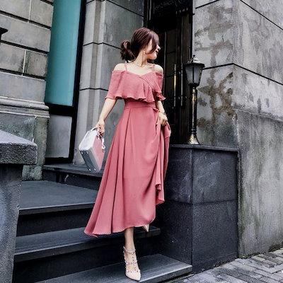 ストラップ付きフリルオフショルダーフェミニンワンピースドレス