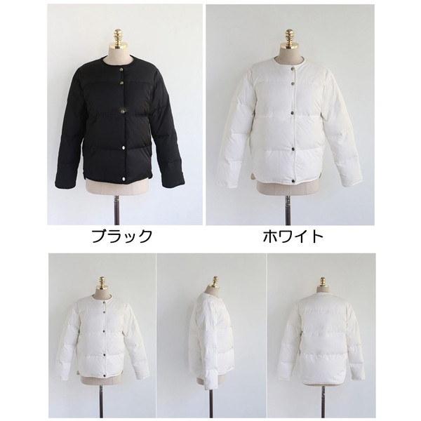 レディース ジャケット キルティング 白 黒 中綿 コート コットン アウター 無地  ノーカラー シンプル
