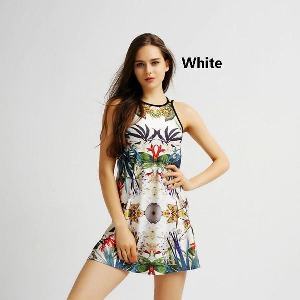 New Fashion Sexy Sleeveless Dress Print Backless Dress