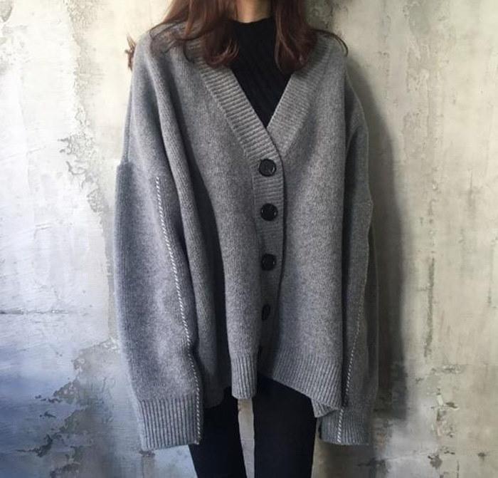 【予約商品】カーディガン Vネック レディース コート アウター 大きいサイズ ニット セーター ボタンあり 無地 シンプル 韓国ファッション 二目編み ドルマンスリーブ ゆったり 暖かい オシャレ
