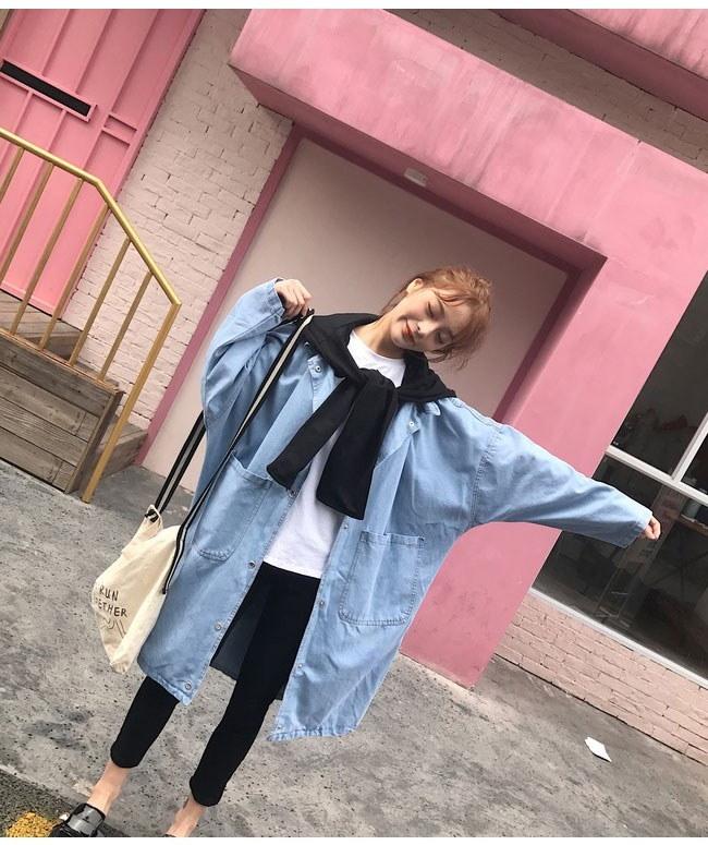 アウター コート トレンチコート レディース 女性 羽織 ロングコート bfファッション 韓国ファッション オーバーサイズ デニム素材 大きいサイズ 体型カバー ガーリー 可愛い