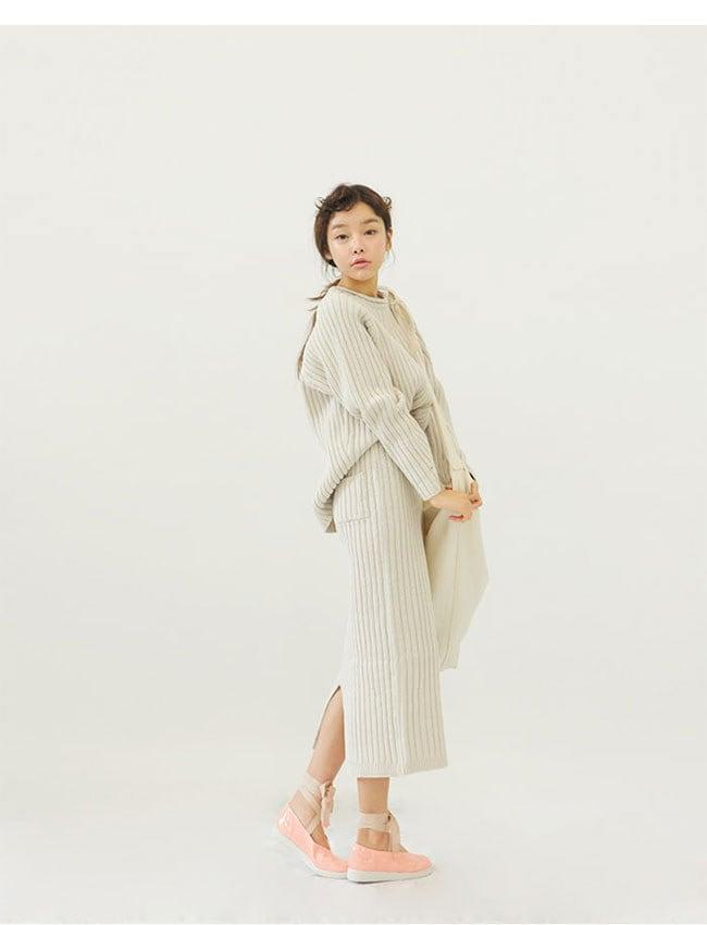 [全3color/ブラック追加][2点SET]ニットセットアップ★ロング スカート ニットツーピースセット 暖かい女性ニットツーピース♥トップ+スカートSET♥ストレッチある高品質ルーズフィットニット