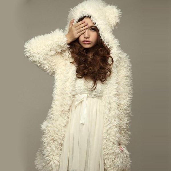 女性のかわいいベア耳カジュアルフリースパーカーフード付きロングコートジャケットアウトウェア(ベガ・ブラックサイズS-XL)