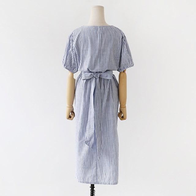 [B30242]ヨプトゥイムストライプパターン夏のロングワンピースデイリールックkorea women fashion style
