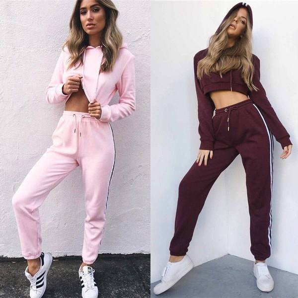 2Pcs Casual New Women Hooded Sweatshirt Pants Tracksuit Suit Sets  Sport Wear
