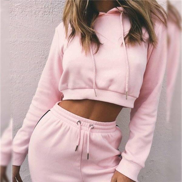 2Pcs Casual New Women Hooded Sweatshirt Pants Tracksuit Suit Sets  Sport Wear