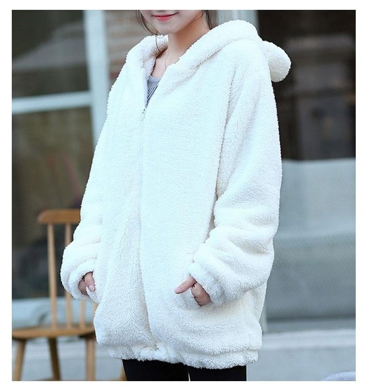 女性のパーカーの冬のゆるいふわふわのベアの耳パーカーパーカーのフード付きジャケット暖かいかわいいアウターコート