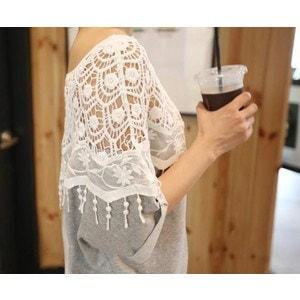 韓国ファッション 春 韓国 花柄 レース 半袖 ターンバックレース スリーブ 無地 ミックス ドルマン 異素材 ボートネック Tシャツ