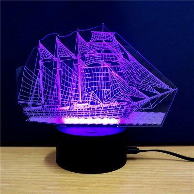 3Dカラフルな帆船模型ランプ