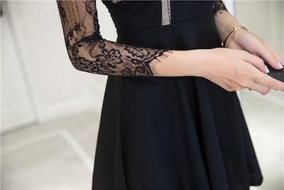 花柄レースのショート丈フレアワンピース 結婚式 婚活 二次会 お呼ばれ パーティー ドレス 2018