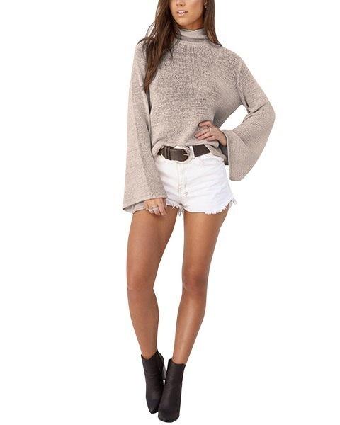 セクシーな女性の長袖カジュアルニットカーディガンルーズセーターレースアップバックレスコートセーター
