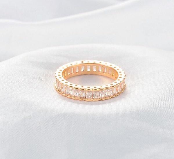 サイズ6-9ブライダルジュエリープリンセスキュービックジルコニアイエローゴールド充填バンドホワイトトパーズ女性の結婚式