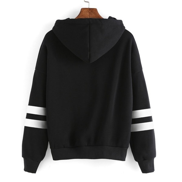 5 Colors Women Winter Warm Long Sleeve Hooded Oversized Sweatshirts Casual Solid Striped Pullover Ho