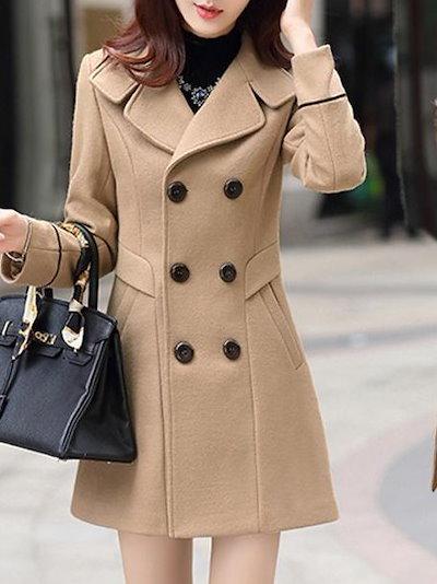 厚くて 着やせ スダブルボタン 無地 気品ある 女性 ラシャコート