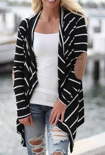ファッション女性ニットカーディガンコートカジュアルストライプアウターセータートップス