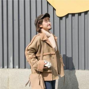リバーシブルムートンコート 2色 ホワイト ブラウン レディースアウター ジャケット 上着 ふわもこ ガーリー 可愛い キュート 秋冬