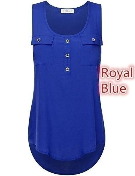ノースリーブ新しいレディースファッションサマータンクトップ織りフロントScoopネックカジュアルTシャツ