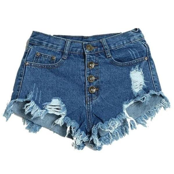 Front Button Hole Fit hot pants High Waisted Denim Jeans denim shorts pants