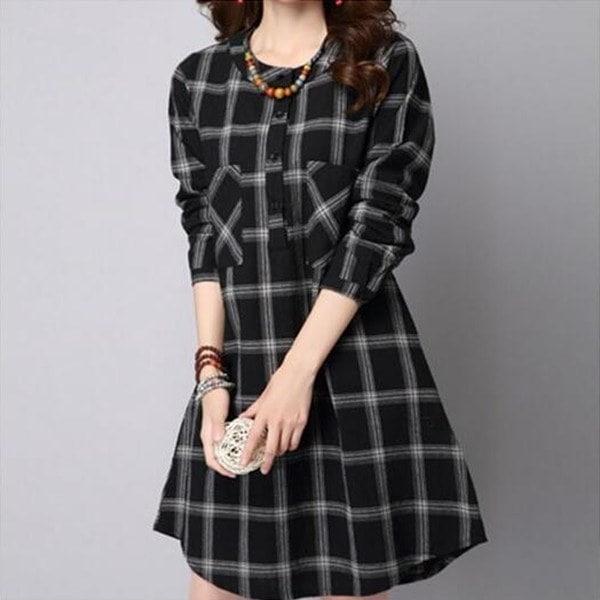 女性ボホールチェックチェックルーズロングトップシャツブラウスKaftanバギーショートミニドレス