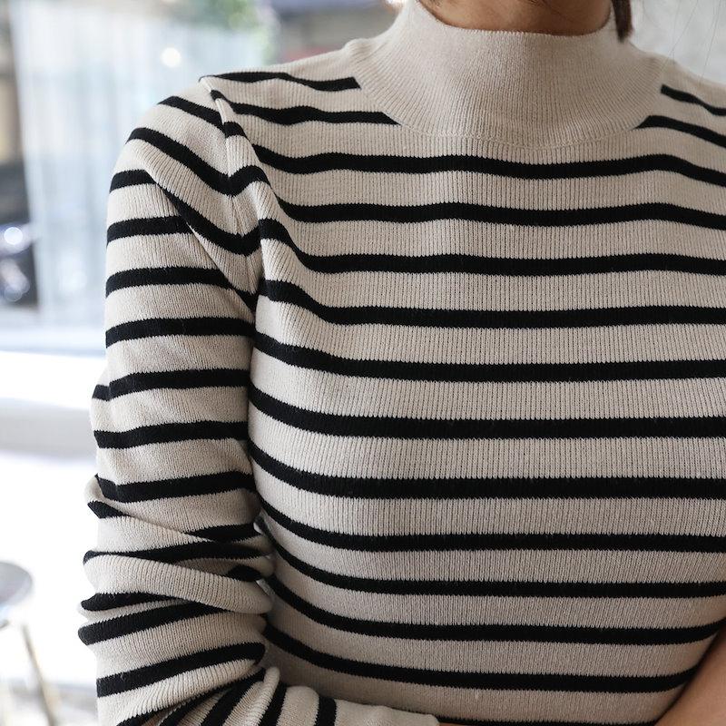 ♥送料 0円★PPGIRL_A800 Stripe half turtle neck knit top / slim fit / knit T shirt / stripe knit / long