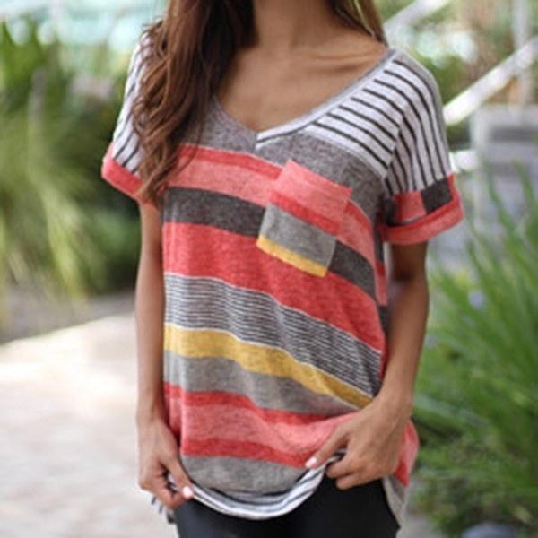 ファッションレディースストライププリントTシャツVネック不規則ルーズカジュアルショートスリーブ夏プラスサイズT
