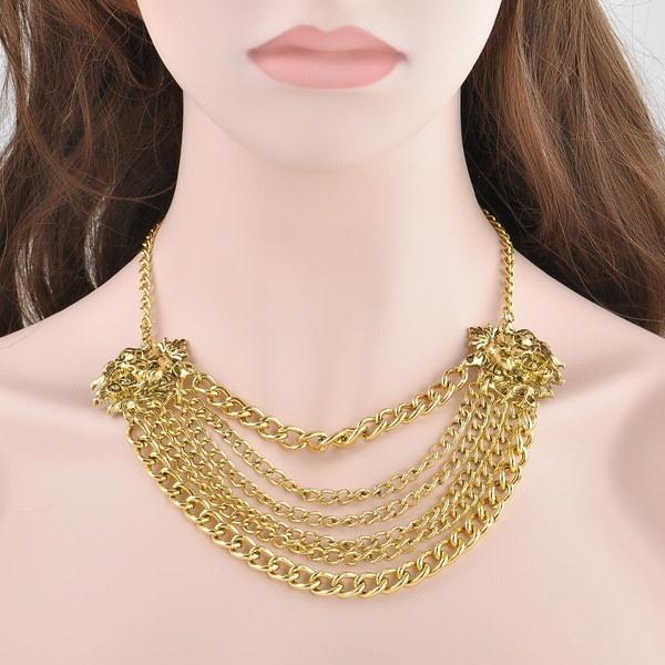 ファッションパンククール合金ライオンペンダントチェーンネックレスジュエリーギフト(カラー:ゴールド)
