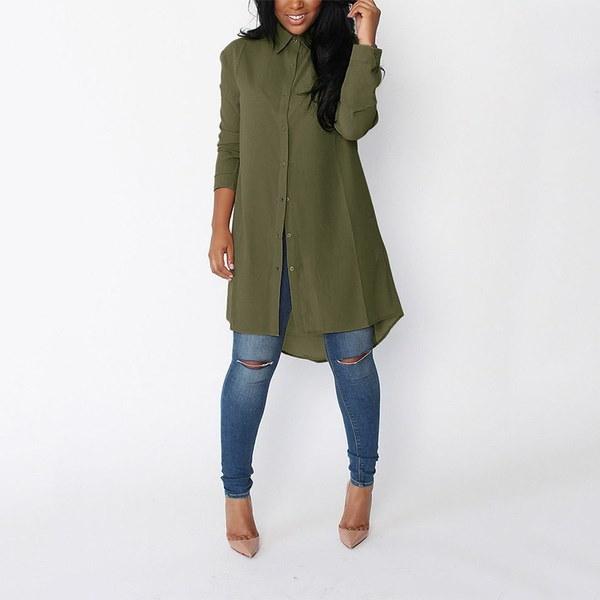 ビッグサイズファッションルーズロングスリーブブラウスカジュアルロングシャツ女性ソリッドカラー不規則シフォンシャー