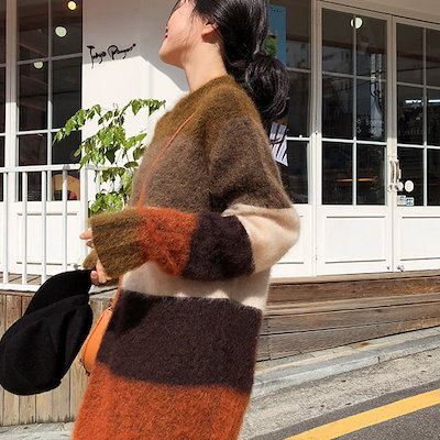 【お取り寄せ商品】ラウンドネックモヘアロングセーター ボーダー柄 ブラウン ベージュ 長袖 かわいい きれいめコーデ お出かけ デート