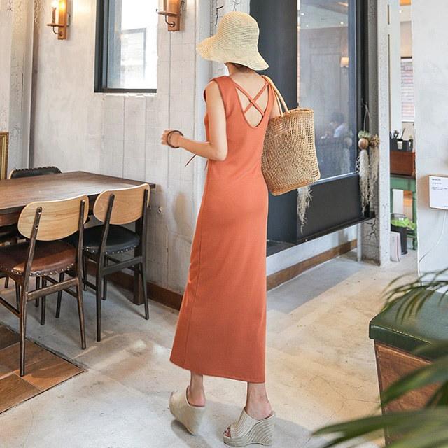 夏ノースリーブアイレットロングワンピースデイリールックkorea women fashion style