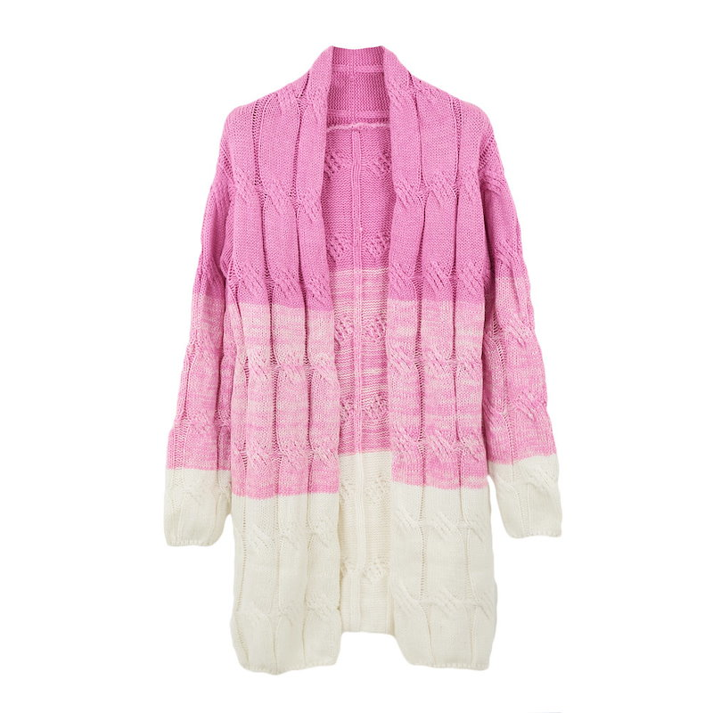 Fashion Women Knitted Coat Crochet Patchwork Long Open Front Long Sleeve Thick Long Cardigan Knitwear
