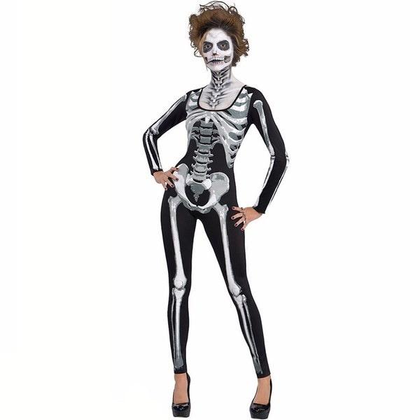 レディース黒と骨の頭骨スケルトンのカトゥーハロウィーンのファンシーコスチュームボールジャンプスーツ